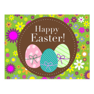 Vintage floral green Happy Easter egg card