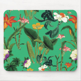 vintage floral green mouse pad