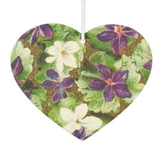 Vintage Floral Green Purple Violets Flowers Air Freshener
