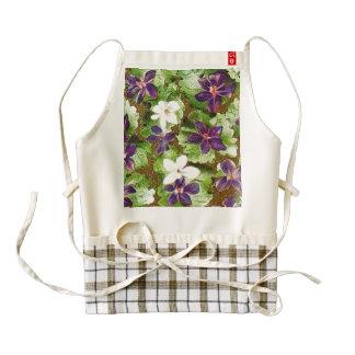 Vintage Floral Green Purple Violets Flowers Zazzle HEART Apron
