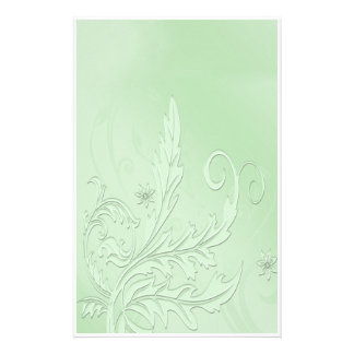 Vintage Floral Green Customized Stationery