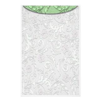 Vintage Floral Green Custom Stationery