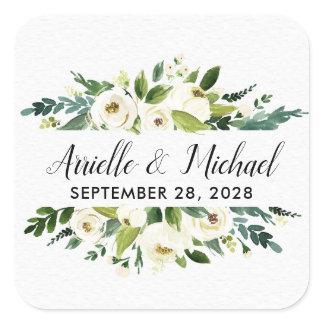 Vintage Floral Greenery Garden Wedding Favors Square Sticker