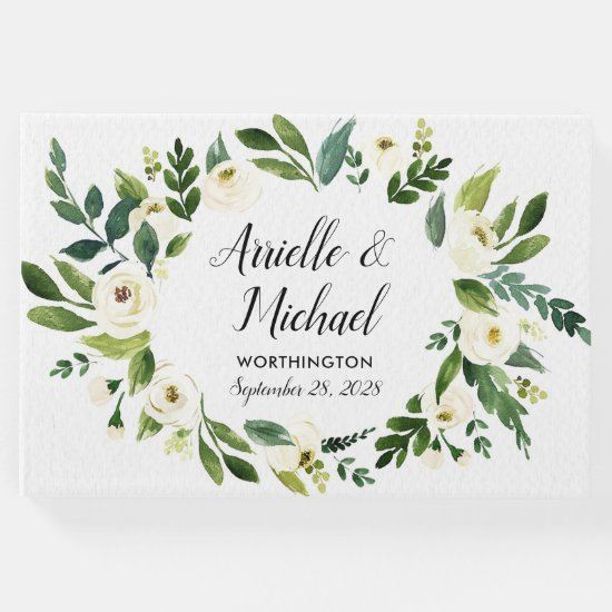 Vintage Floral Greenery Garden Wedding Guest Book