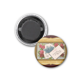 Vintage Floral Greeting 1 Inch Round Magnet