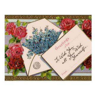 Vintage Floral Greeting Postcard