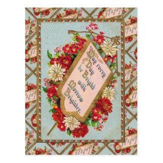 Vintage floral greetings postcard