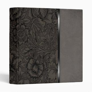Vintage Floral Grey Suede Binder