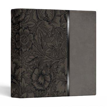 Professional Business Vintage Floral Grey Suede Binder