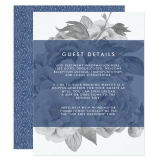 Vintage Floral Guest Details Card | Navy