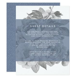 Vintage Floral Guest Details Card   Slate