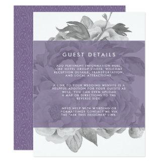 Vintage Floral Guest Details Card | Violet