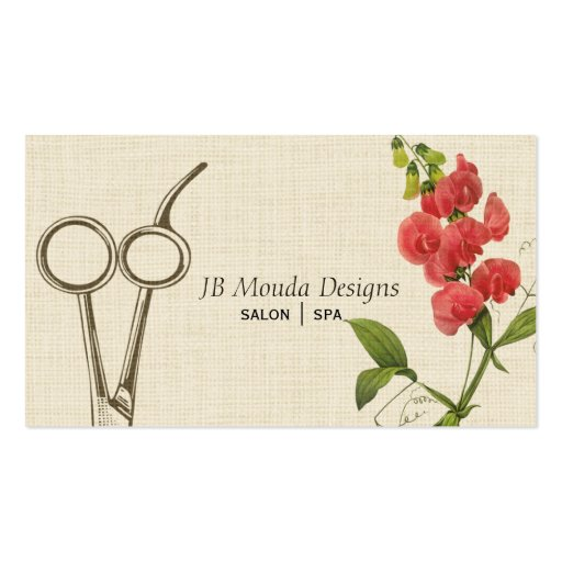 Vintage Floral Hair Stylist Shears Scissors Business Card Template