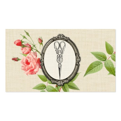 Vintage Floral Hair Stylist Shears Scissors Business Cards