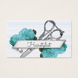 vintage floral hairstylist hair stylist blue girly business card