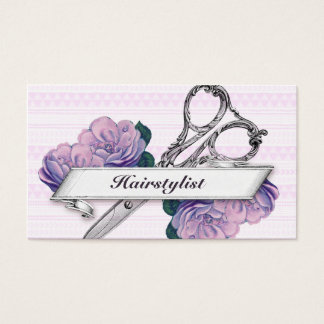 vintage floral hairstylist hair stylist purple business card