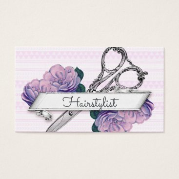 Aztec Themed vintage floral hairstylist hair stylist purple business card