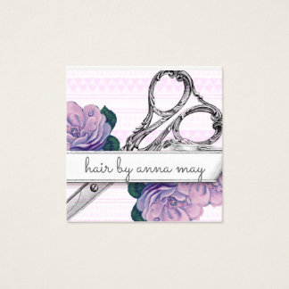 vintage floral hairstylist hair stylist purple square business card