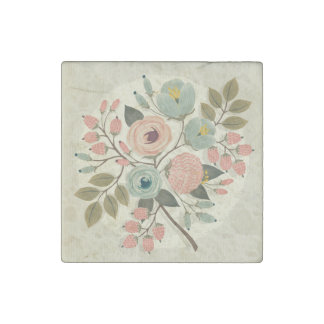 Vintage,floral,hand painted,water color,cute,girly stone magnet