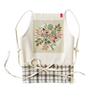 Vintage,floral,hand painted,water color,cute,girly zazzle HEART apron