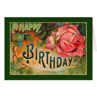 Vintage Floral Happy Birthday Card