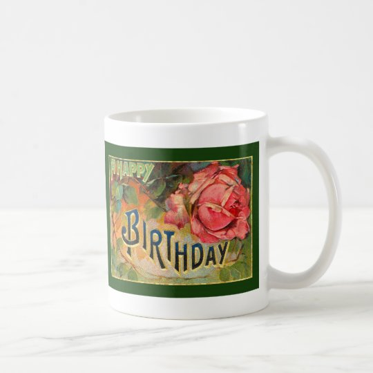 Vintage Floral Happy Birthday Coffee Mug