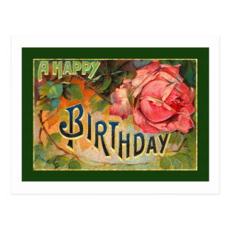 Vintage Floral Happy Birthday Postcard