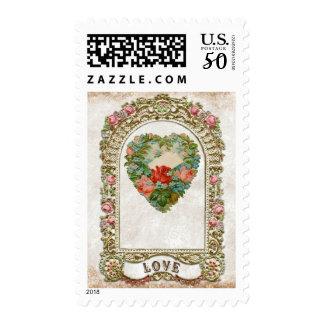Vintage Floral Heart Frame Love Anniversary Stamp