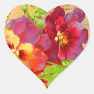 Vintage Floral Heart Sticker
