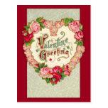 Vintage Floral Heart Valentine Postcard at Zazzle