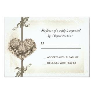 vintage floral heart wedding rsvp design card