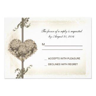 vintage floral heart wedding rsvp design custom invites