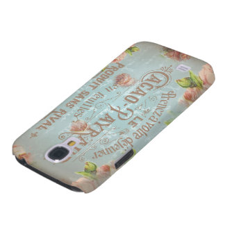 vintage floral historical french blue typo ancient samsung s4 case