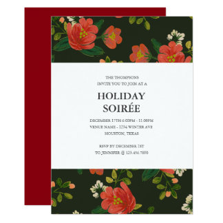 Vintage Floral Holiday Party Invitation