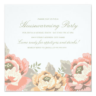 Vintage Floral Housewarming Party Invitation