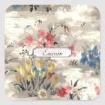 Vintage Floral Illustation - Retro Classic Flowers Square Sticker