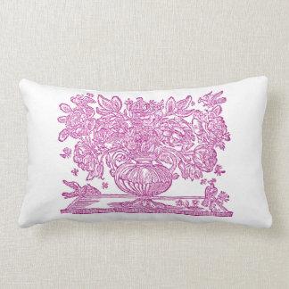 Vintage Floral Illustration featuring griffins Lumbar Pillow