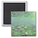 Vintage Floral Impressionism, Waterlilies by Monet 2 Inch Square Magnet
