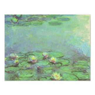 Vintage Floral Impressionism, Waterlilies by Monet 4.25x5.5 Paper Invitation Card