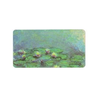 Vintage Floral Impressionism, Waterlilies by Monet Address Label