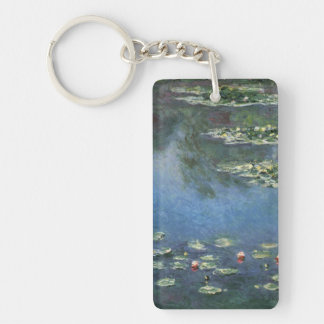 Vintage Floral Impressionism, Waterlilies by Monet Double-Sided Rectangular Acrylic Keychain