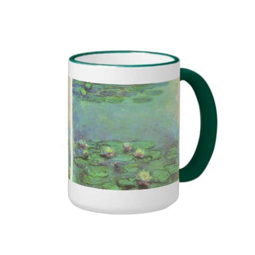 Vintage Floral Impressionism, Waterlilies by Monet Ringer Coffee Mug