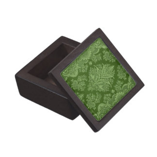 Vintage Floral in Brilliant Green Shades Jewelry Box