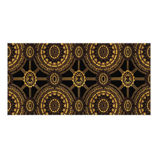 Vintage Floral in Gold and Black Photo Card Template