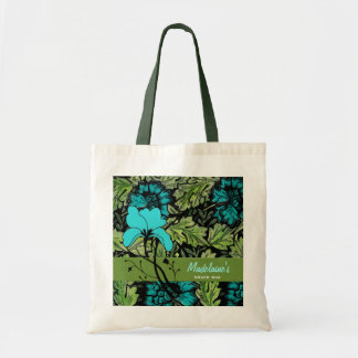 Vintage Floral in Green and Bright Blue Tote Bag