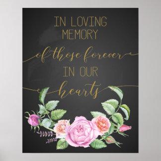 vintage floral in loving memory poster sign