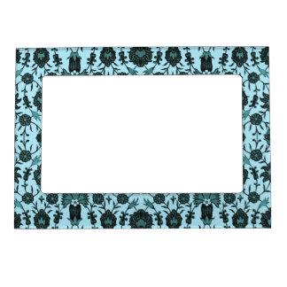Vintage Floral  in Pale Blue and Dark Teal Picture Frame Magnet