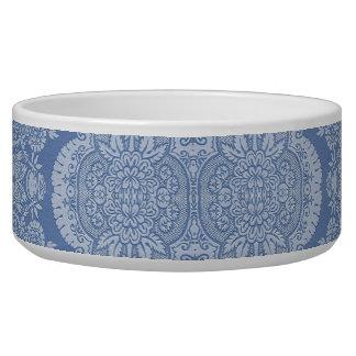 Vintage Floral in Shades of Blue Dog Food Bowls