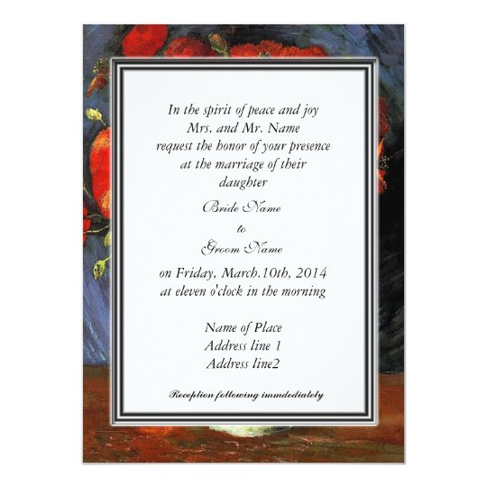 Vintage floral  invitation, van Gogh red poppies Card