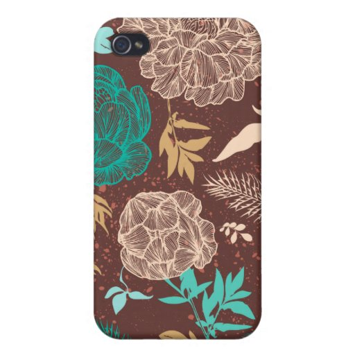 Vintage Floral iPhone Teal Blue Brown iPhone 4 Cover